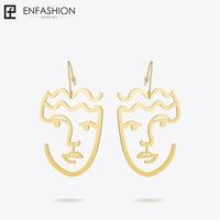 Enfashion Classic Big Silhouette Dangle Earrings Gold Color Earings Face Drop Earrings For Women Long Earring
