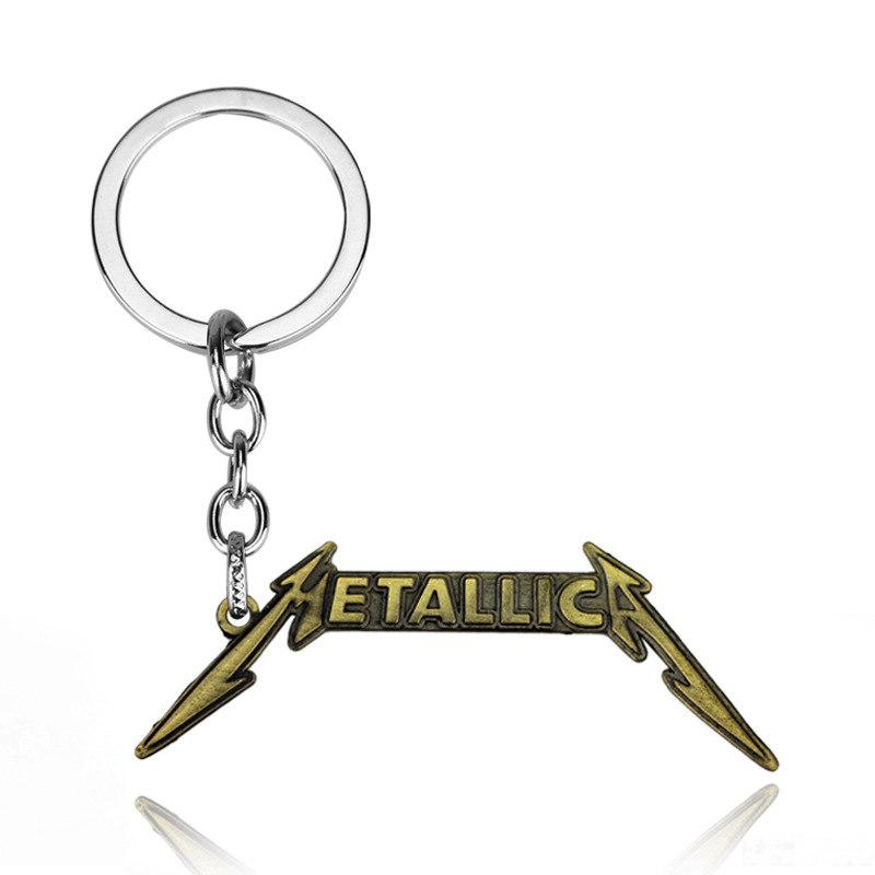 Hot Rock Music Band Red Logo Key Chain Fashion Women Men Accessories Metal Key Ring Letter Keychain image