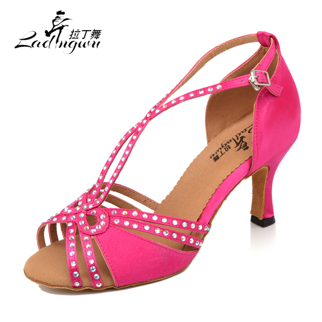 Ladingwu Spring and Summer Women's Dance Sandals Pink/Brown Satin Collocation Shine Rhinestone Latin Dance Shoes Salsa Women