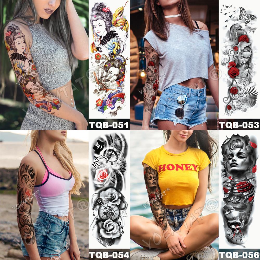 Tatuaje para brazo impermeable cráneo completo 5