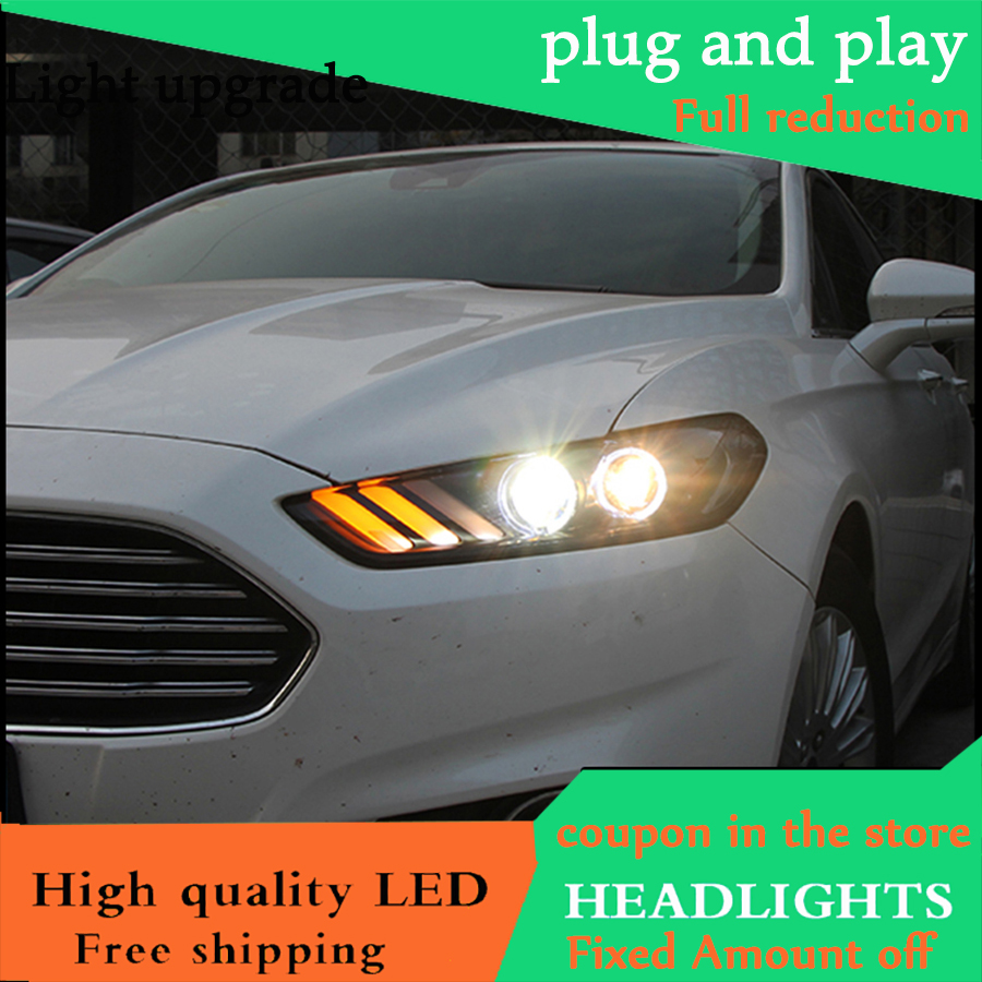 Car styling Head Lamp Case For Ford Mondeo For Fusion 2013 2014 2015 Headlights LED Headlight