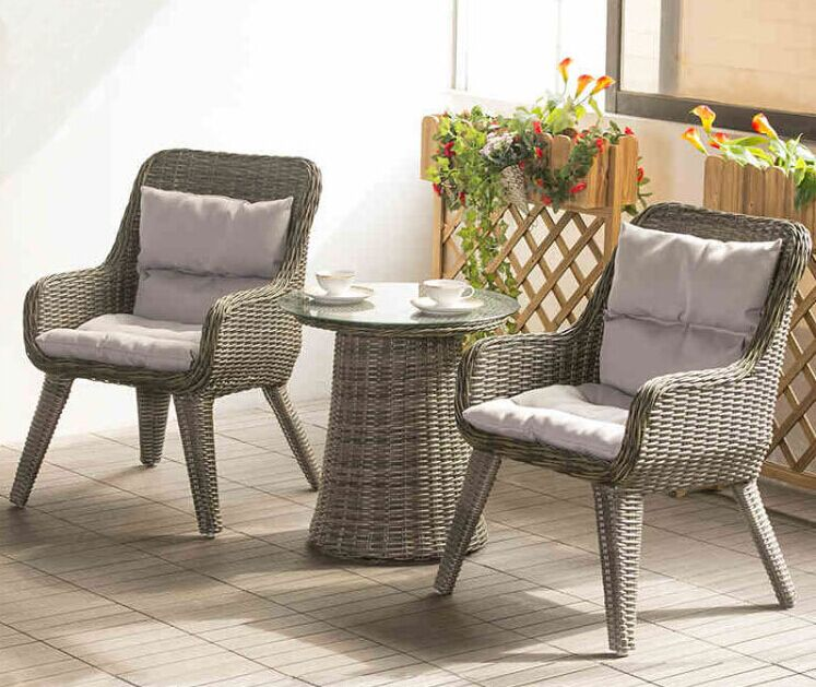 factory direct sale wicker patio furniture lounge chair chat set small outdoor table and chairs