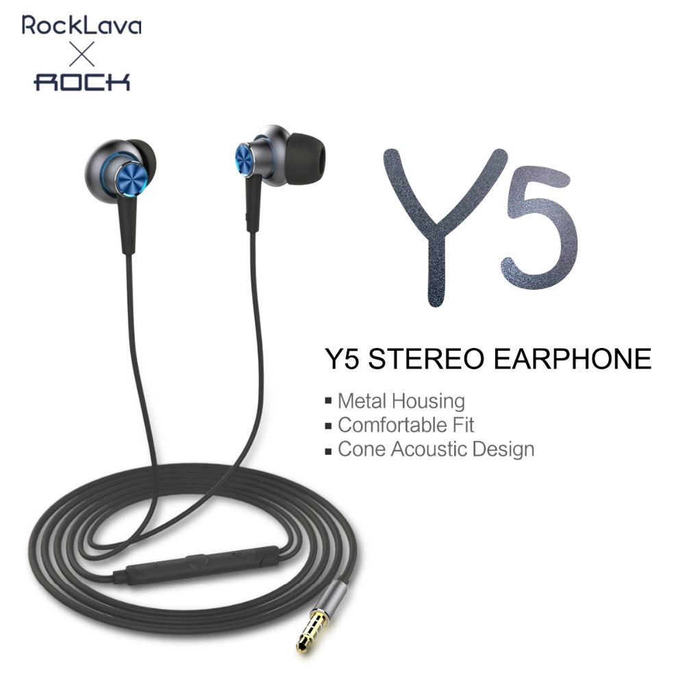 ROCK Y5 Luxury In-Ear Stereo Earphone 3.5mm Line Type Headset Earbuds For iPhone 6 6S 7 Plus Samsung Earphones With Microphone