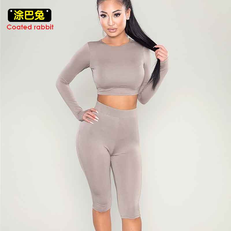 CR Fashion 2 Two Piece Set Tracksuit Women 2018 Sexy Crop Long Sleeve Top +Bodycon Knee Length Pants Women Clothes