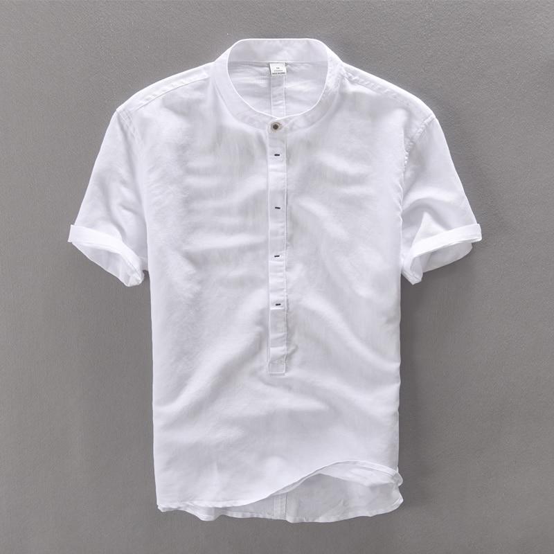2017 New Style Short Sleeve Solid White Linen Shirt Men Summer Chinese Collar Shirts Men Fashion Casual Cotton Mens Shirt Camisa
