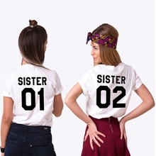 SISTER 01 SISTER 02 Women Fashion Summer T-shirt Cotton Best Friends T shirt Tee Shirt Short Sleeve Sister Outfit Close Friend