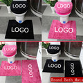 Custom Brand Bathroom Bath Mats Pink/Black 3/4pcs A Set Toilet Seat Cover Logo Rug Sets