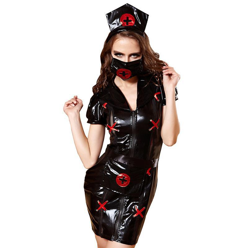 14712bf9ca1 Detail Feedback Questions about Halloween Cosplay Sexy Sets Black Nurse  Uniform Dress Sets For Women Roleplay Cosplay Feminino Party Nurse Costume  With Hat ...