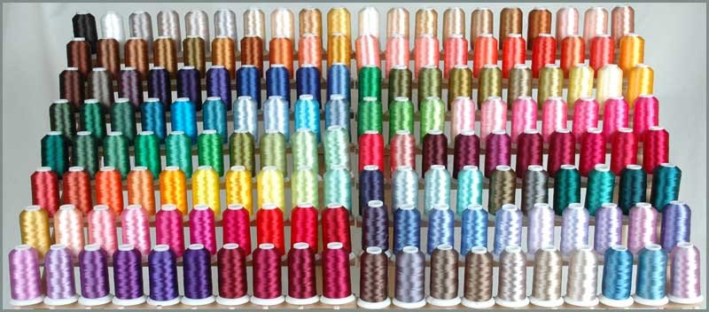 Popular machine embroidery sewing thread 1000m cone 112 colors box 100 polyester embroidery thread 10 plastic