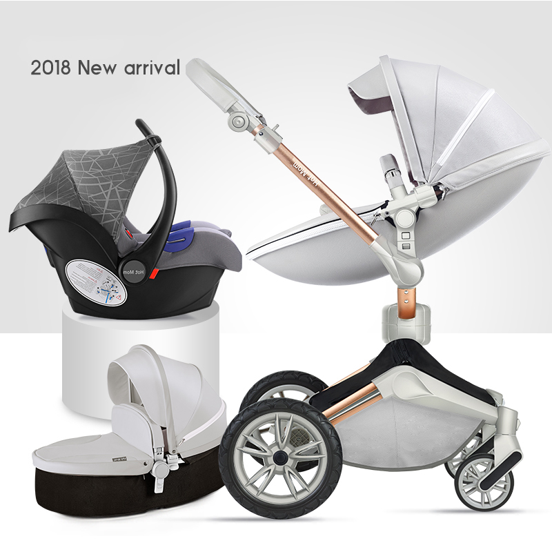 2019  Hotmom  Luxury Baby Stroller 3 In 1 Stroller  PU 2 In  1 Stroller With Car Seat  EU Standed Send Gifts  Free Shipping