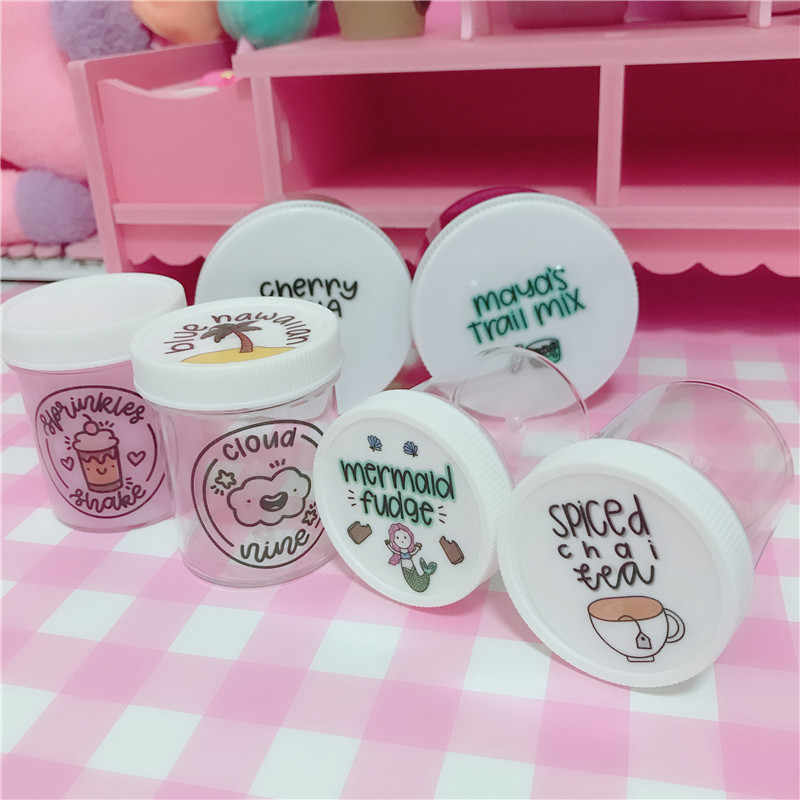 Waterproof Round Slime Sticker Containers Sticker Storage Box Sticker Slime Supplies DIY Accessories Bottle Decoration