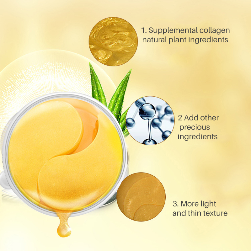 Gold Crystal Collagen Eye Mask Anti-Wrinkle Whey Protein Eye Patch Dark Circle Anti Aging Eye Pads Patches for the Eyes Masks