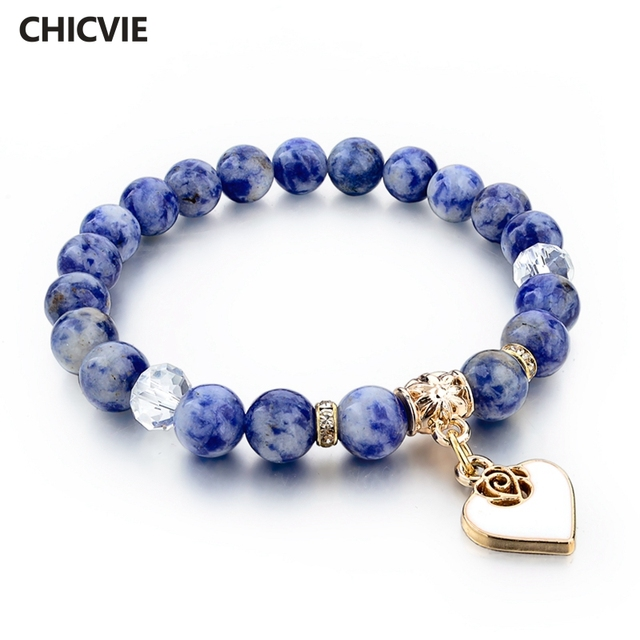 Chicvie Boho Natural Stone Bracelets For Women Gold Color Heart Love Bangles With Stones