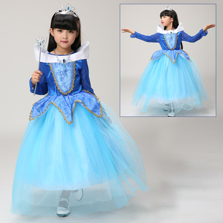 CaGiPlay 2017 girl pink blue Aurora Princess Dress Children sleeping beauty Summer Carnival cosplay Dress Costume Party Princess