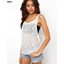2017 Sleeveless Sporting Vest Loose Sexy Tank Top Women Casual Plus Size Fitness Top Female Summer Transparent Clothing XL D15