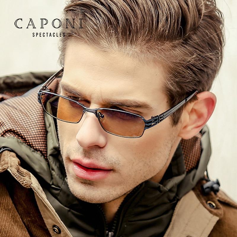 Caponi Titanium Frame Day Night Vision Photochromic Polarized Driver Sunglasses Driving Men s Glass BSYS1172