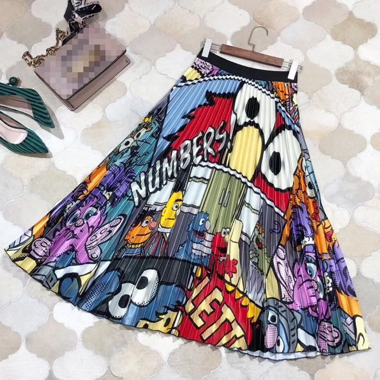 Luxury Designing Streetwear Elastic Waist High Street Style Cute Letters Pattern Cartoon Printing Pleated Skirt Top