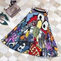 Luxury Designing Streetwear Elastic Waist High Street Style Cute Letters Pattern Cartoon Printing Pleated Skirt Top Quality