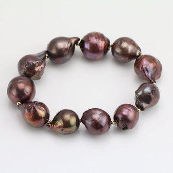 Brown Color Baroque Pearl Bracelet,12-15mm Flameball Pearl Jewellery,Elastic Pearls Bracelet