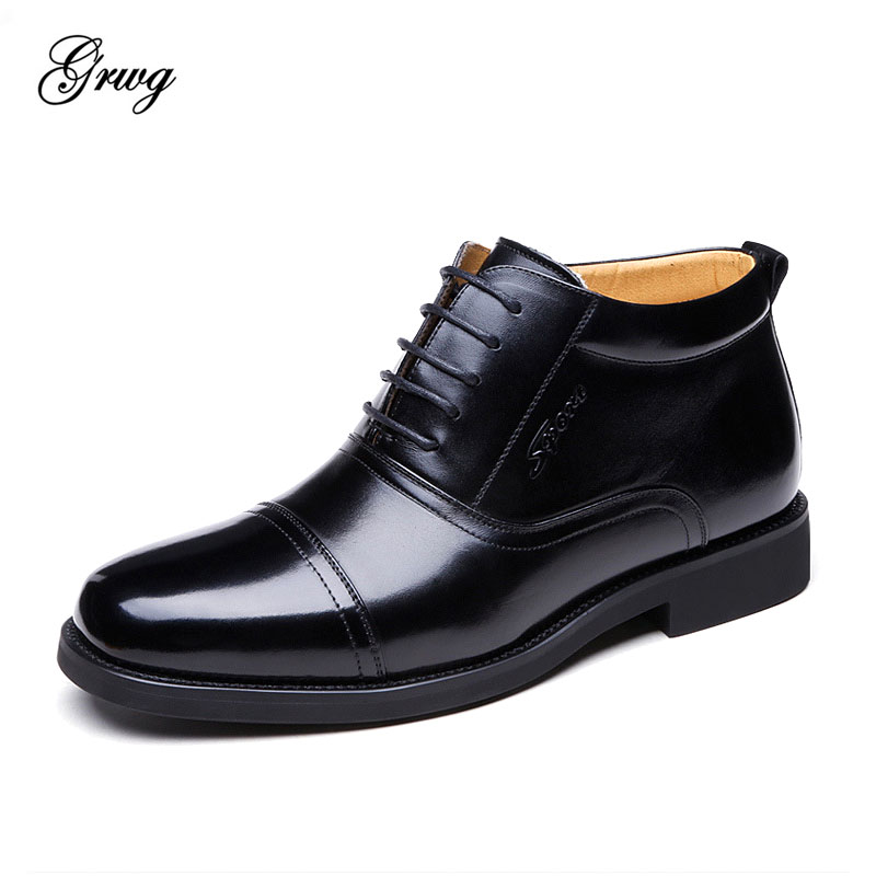 GRWG genuine leather natural fur Snow boots new fashion men's sheepskin leather ankle boots winter warm breathable men shoes