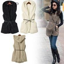 Winter Fur Vest Women Vest Hoodie Faux Lamb Fur Long Vest Women Coat colete feminino de inverno  Veste Femme Waistcoat 5colors