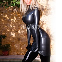 Rubber mini Dress sexy club dresses black and gray color Latex casual high elasticity fabric with long sleeves SUITOP