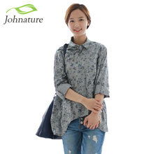 Johnature 2017 New Women Blue Floral Shirt Cotton Linen Turn-down Collar Spring Autumn Long Sleeve Loose Blouse