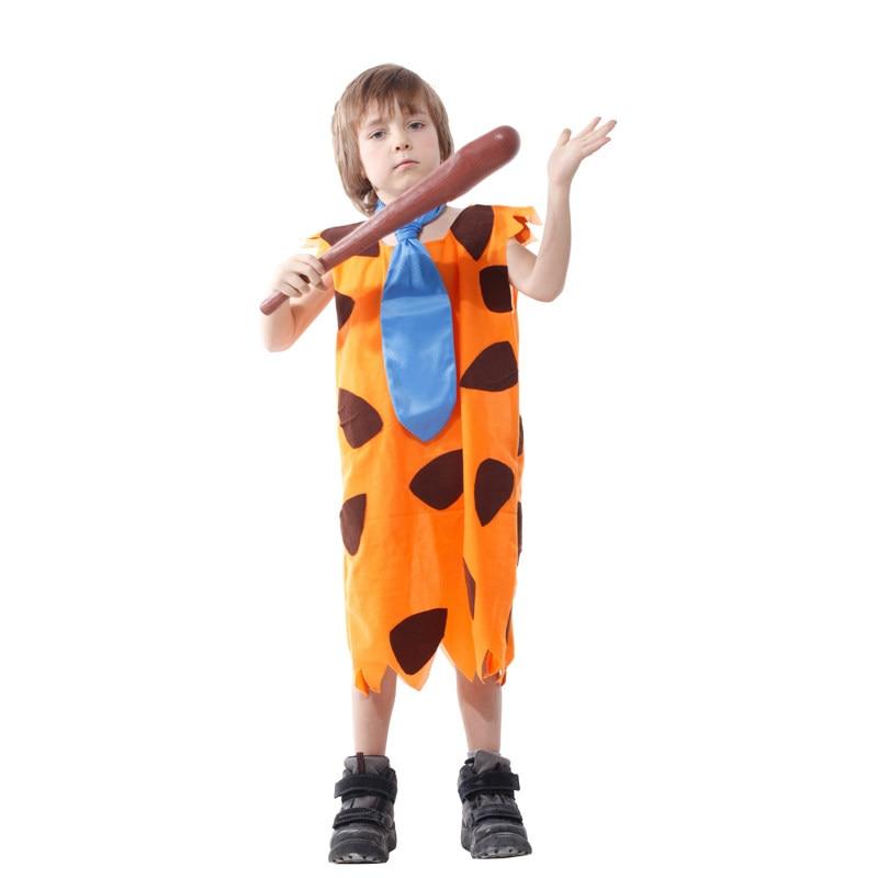 Kids Child Stone Age Indian Boy Flinstones Costume Primitive Savages Cosplay Halloween Carnival Party Mardi Gras Fancy Dress 2