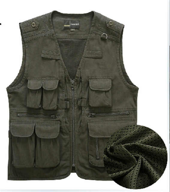 New Men Multi-pocket Photography Vest Middle-aged Waistcoat  Asian/Tag Size L-4XL