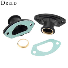 DRELD 2 комплекта Запчасти для бензопилы Выпускной впускной коллектор с кольцом и прокладкой для 45CC/4500 52CC/5200 58CC/5800 запчасти для китайской пилы