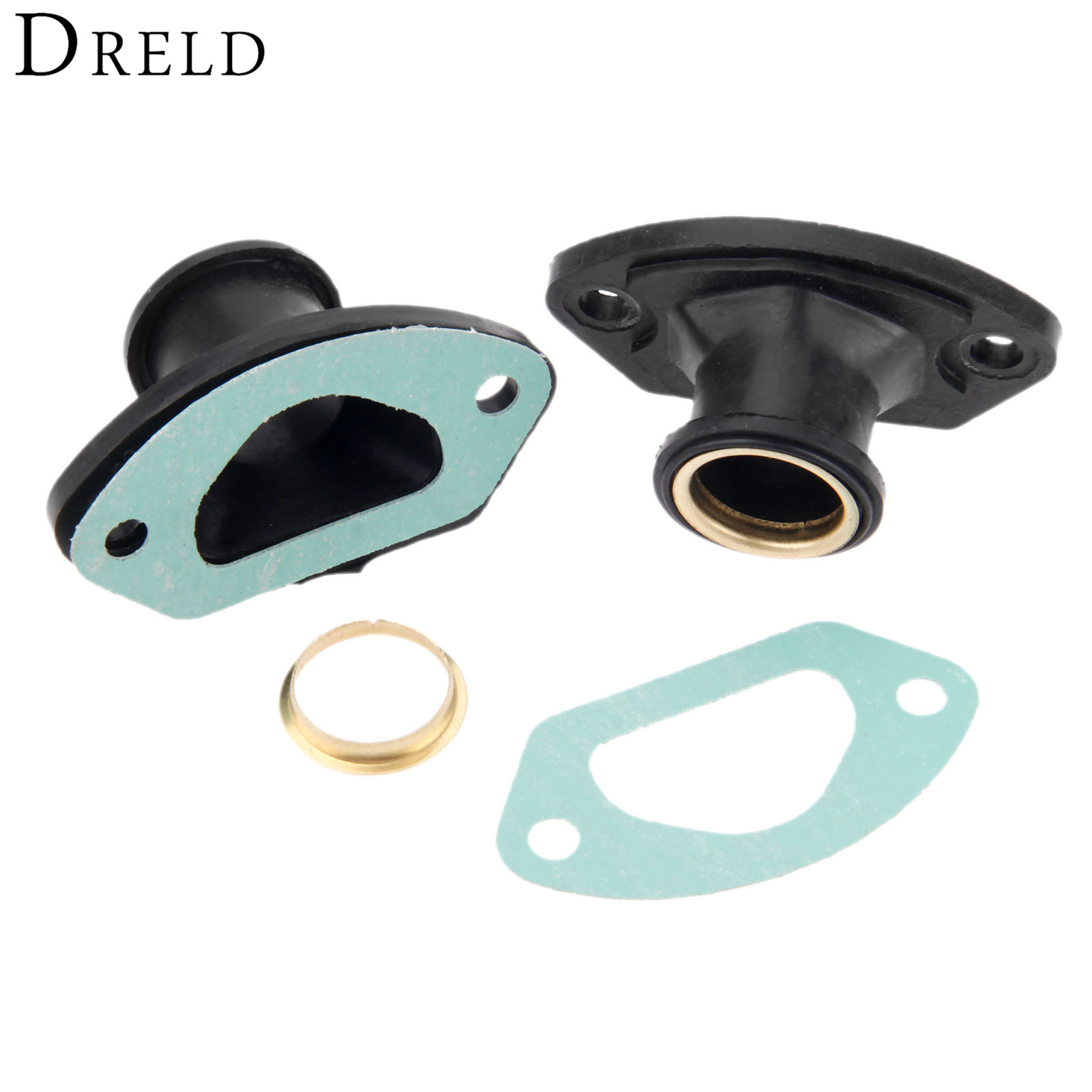 DRELD 2 Sets Chainsaw Parts Exhaust Intake Manifold With Ring & Gasket For 45CC/4500 52CC/5200 58CC/5800 Chinese Chainsaw Parts