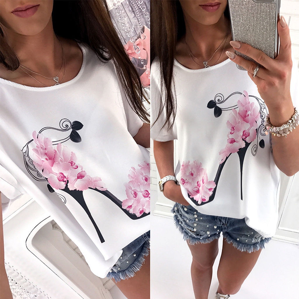 Fashion Summer Women Shirt Short Sleeve Flower High Heeled Shoes Printed Tops Loose Comfortable Ladies Girl Casual Blous FS99
