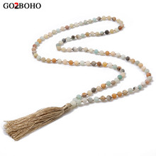 цены Go2boho 108 Mala Beads Necklaces Long Tassel Necklace 2019 Female Yoga Jewelry 6mm Amazonite Natural Stone Boho Handmade Knotted