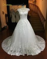 Loverxu Vestido De Noiva Elegant A Line Lace Wedding Dresses 2017 Scoop Neck Appliques Court Train