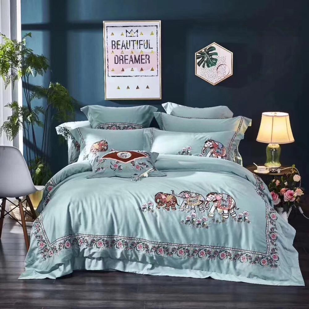 Luxury Elephant Flower Embroidery Egyptian Cotton Bedding Set Queen King Size Duvet Cover Bed sheet Linen Pillowcases 4/7pcs