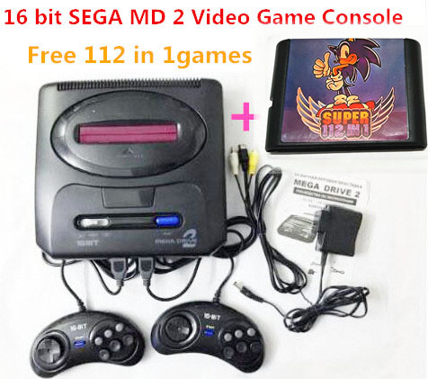 16 bit SEGA MD 2 Video Game Console with US and Japan Mode Switch,for Original SEGA handles Export Russia with 112 in 1 game