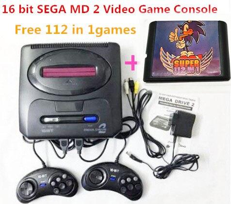 Console de jeu vidéo SEGA MD 2 16 bits avec commutateur de Mode américain et japonais, pour les poignées SEGA originales exportent la russie avec un jeu 112 en 1