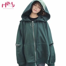 Autumn Spring Women Korean Style Ulzzang Loose Solid Torus Spliced Sleeve Hooded Coats Casual Streetwear arbitrary combination
