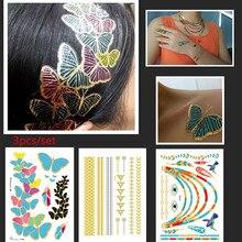 3pcs/set Bright Butterfly Temporary Flash Silver Tattoo Bracelet Boho Body Tattoos Hair/Necklace Bracelet Tattoo New 2016