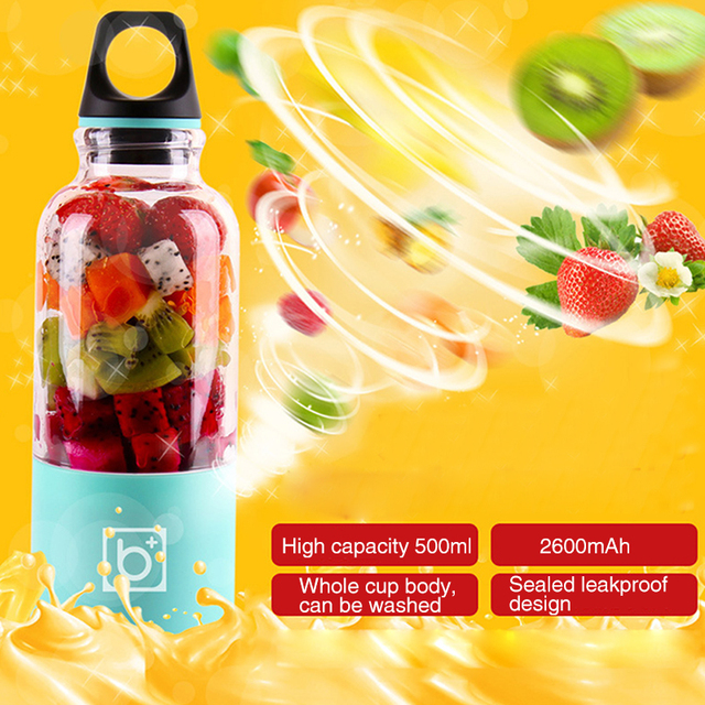 500ml Portable USB Rechargeable Electric Automatic Bingo Vegetables Fruit Juicer 2