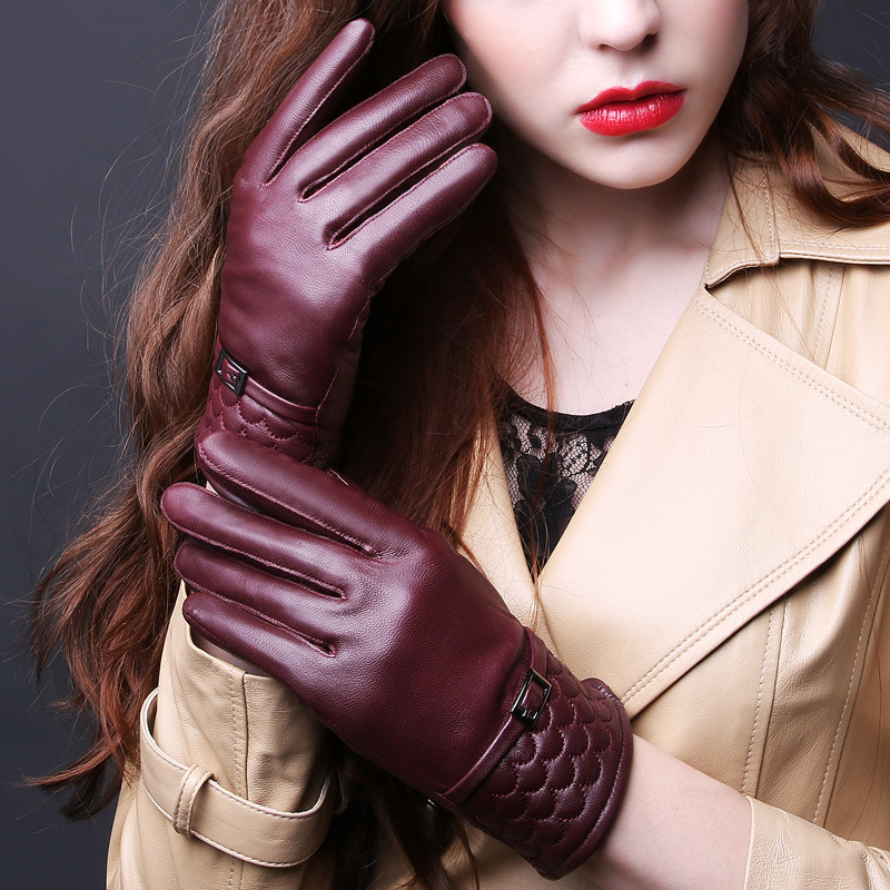 Design Brand Womens Gloves Genuine Leather Winter Warm Ladies Sheepskin Mittens for Girls Ladies with Full Finger High Quality