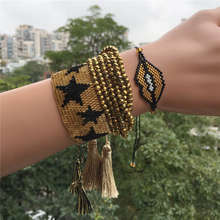 Go2boho Delica MIYUKI Bracelet Gold Star Pulsera 6 Wrap Crystal Sexy Gold Lips Party Jewelry For Women Tassel Bracelets Handmad(China)