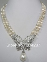 Noblest 2 Row White Black Pearl 18KGP Butterfly Shell Pearl Pendant Necklace