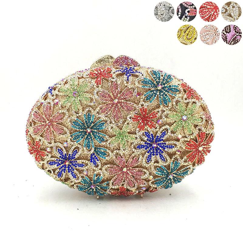 Nigeria Bridal wedding party purse women evening party bag diamonds luxury colorful crystal clutch elegant flower