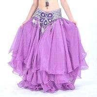 Skirt Bellydance Long Dance Skirt Flamenco Gypsy Dance Skirts 3 Layer Chiffon Tribal Maxi Long Skirt For Women ( Without Belt)