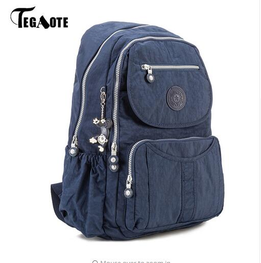 TEGAOTE 2017 School Backpack for Teenage Girls Nylon Women Backpack Solid Famous Casual Female Laptop Bagpack Mochila Feminine tegaote nylon waterproof school backpack for girls feminina mochila mujer backpack female casual multifunction women laptop bag