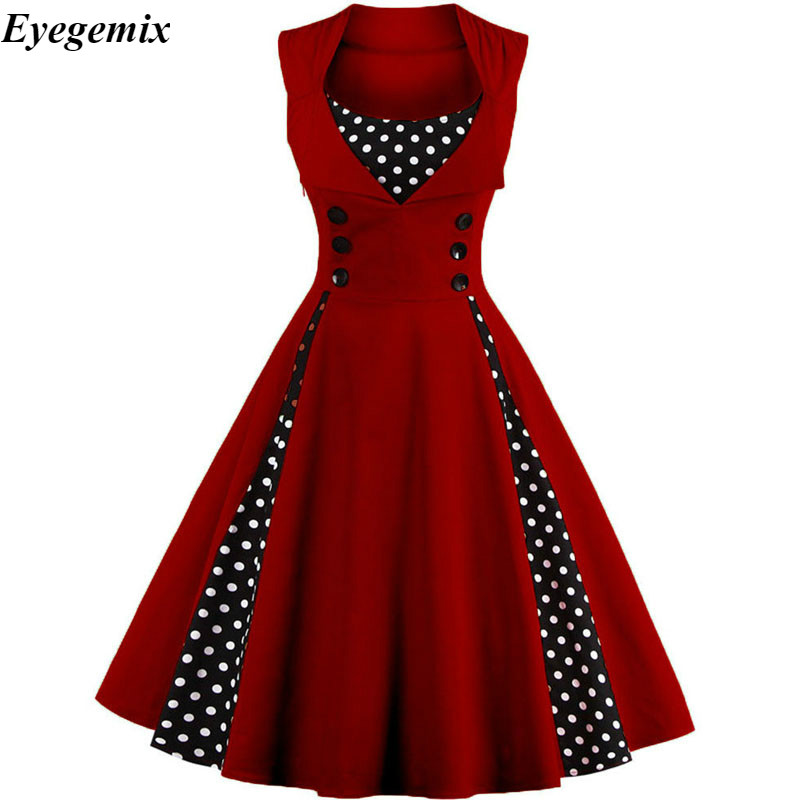 50s 60s Vintage Retro Women Dress Sleeveless Polka Dot Party Vestido Elegant Patchwork Red A Line Dress Casual Big Plus Size 4XL