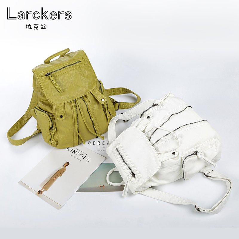 Larckers women soft pu leather women backpack travel backpacks satchel girls casual bag string and cover