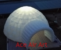 Fashionable White Lights Inflatable Lawn Igloo Tent For Event With Electric Fan