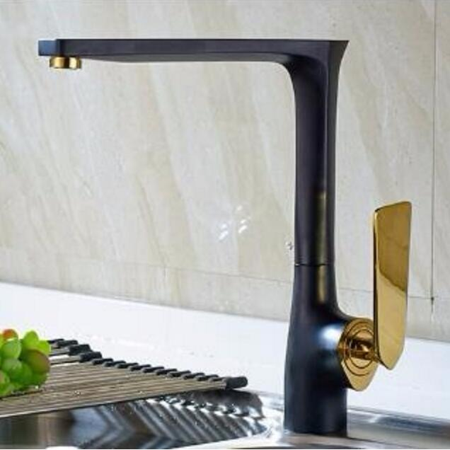 High Quality New Arrival kitchen faucet black brass hot and cold water tap sink mixer tap wash basin faucet 4 colors basin mixer high quality single handle brass hot and cold basin sink kitchen faucet mixer tap with two hose kitchen taps torneira cozinha
